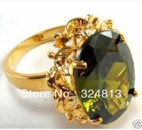 Impresionante peridoto de oliva amarillo tamaño del anillo 7 #8 #9 #10 #