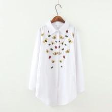 Fashion Embroidery Woman Blouse 2017 White Casual Plus Size Blouses Long Sleeve Shirts Ladies Shirts Woman Top Female Blusas