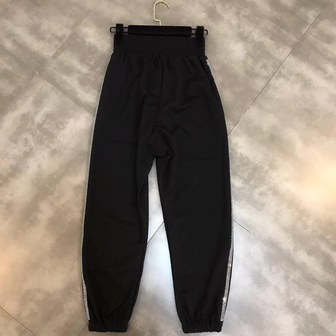 Algodón 2019 Negro Primavera Streetwear Las Rayas Nueva Pantalones Tendencia Casual Cierre En Perforación De Temperatura Verticales Mujeres Caliente Elástica Cintura fHwrfq5