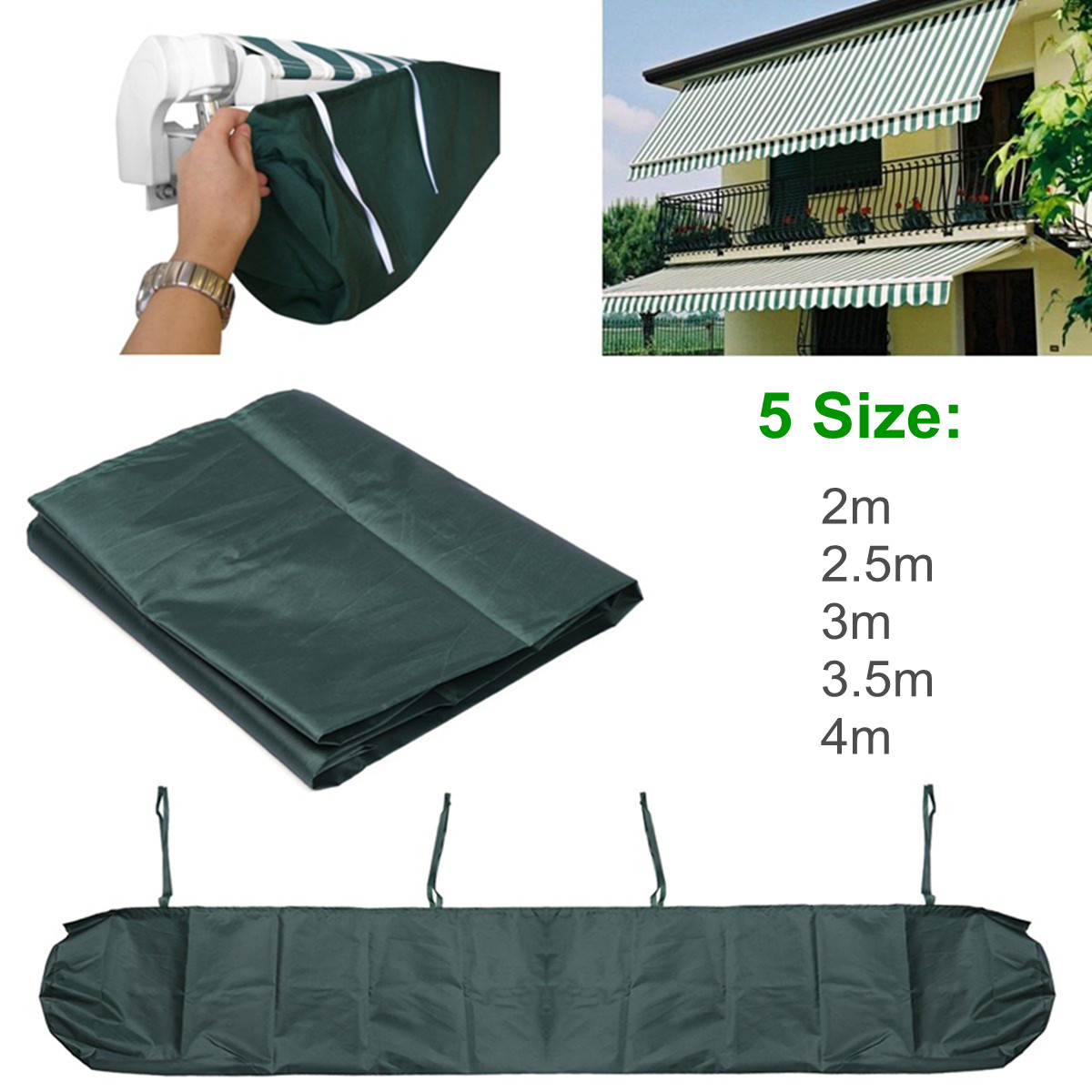 Us 7 46 54 Off Green 5 Sizes Patio Awning Storage Bag Winter Rain Weather Cover Protector Sun Canopy Shelter Waterproof Shade Accessories In Awnings