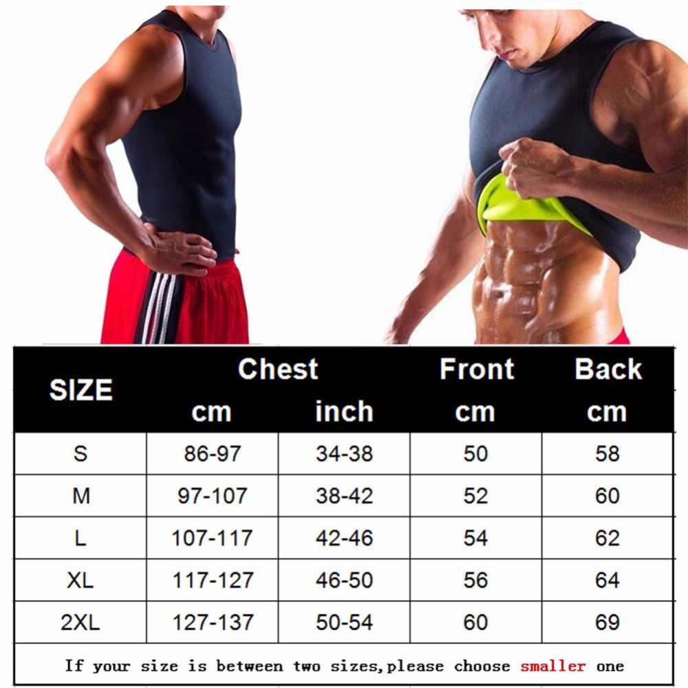 4110045b86 ... Men s Neoprene Slimming Vest Hot Shapers Body T shirt Sauna Sweat  Thermal Waist Trainer Tank Top