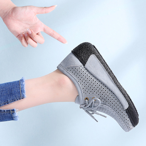 Image 5 - STQ 2020 Autumn Women Leather Suede Flats Women Platform Sneakers Creepers Cutouts Lace Up Flats Moccasins Shoes Woman 7182 1