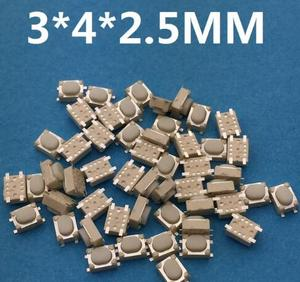 50PCS SMT 3x4x2.5MM 4PIN Tactile Tact Push Button Micro Switch Self-reset Car Remote Control Switch