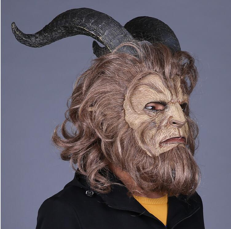 Beauty and the Beast Adam Prince Mask Cosplay Horror Mask Latex Type Adult Cosplay Prop Costume  Halloween Party Helmet