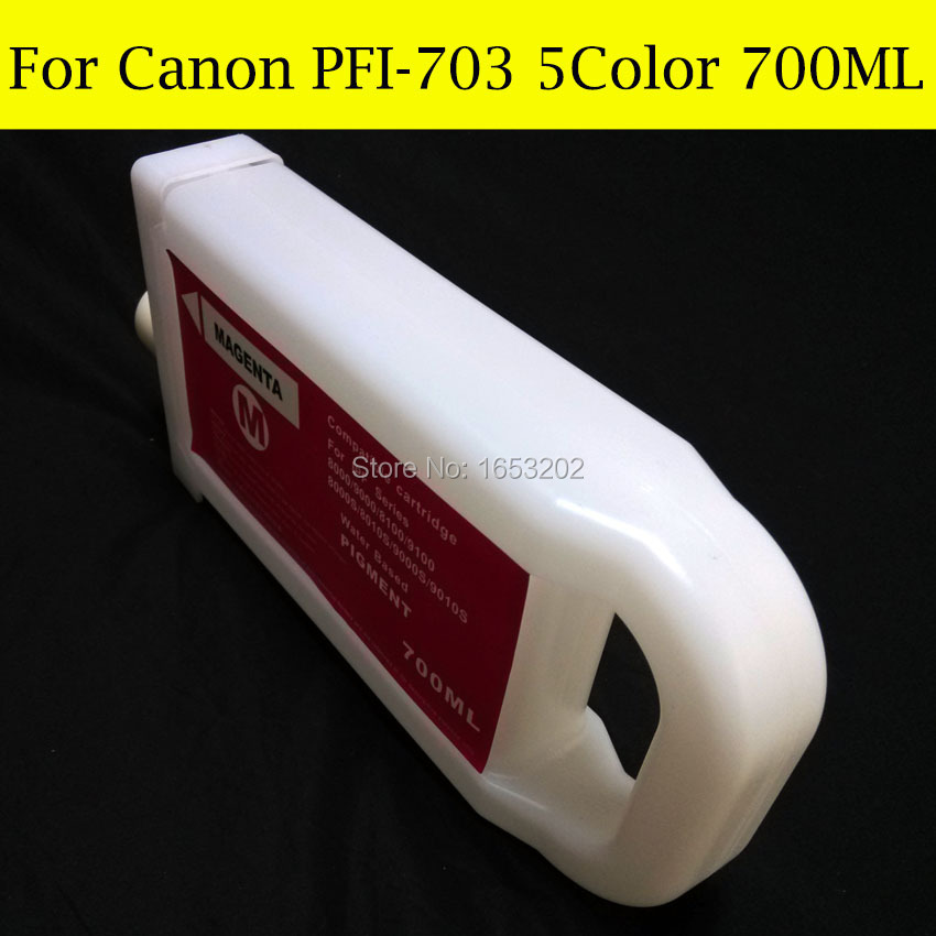 5 Color/Lot PFI-703 Refillable Ink Cartridge For Canon iPF810/815/820/825 Printer Without Chip