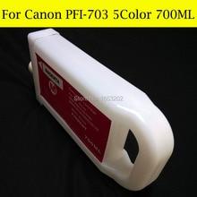5 цвет / много PFI-703 многоразового картридж для канона iPF810 / 815 / 820 / 825 без чипа