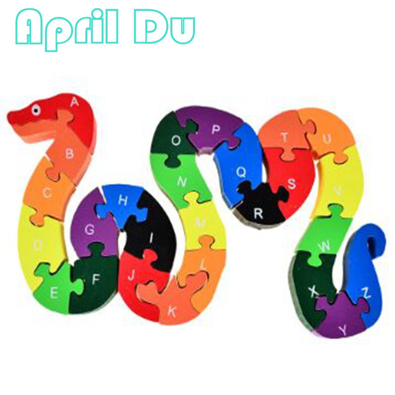 April Du New 26 Alphabet Letter and Numbers Wooden Jigsaw Puzzle Children Kids Mathematics ABC Toy