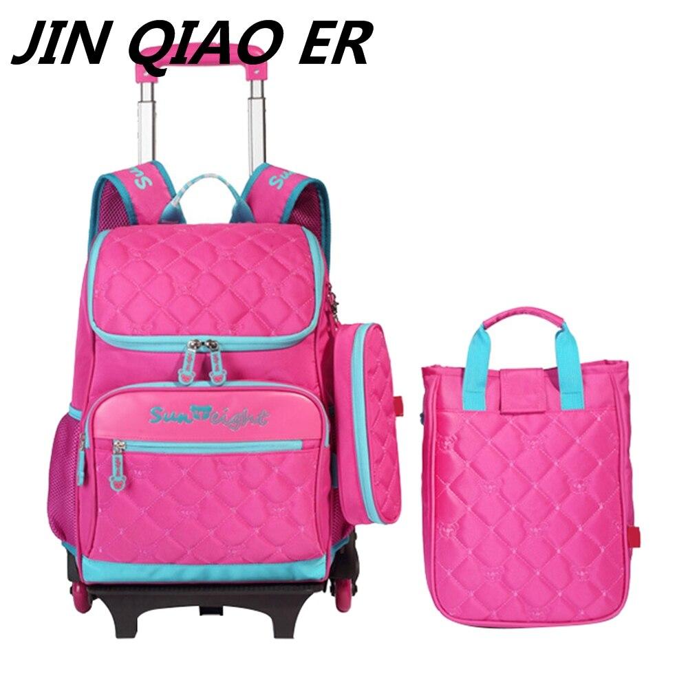 2 3 Pcs Kids Backpacks With Wheels Detachable Travel Trolley Bookbag Children School Bags For