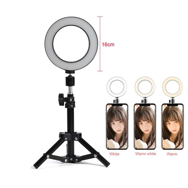 """フォトスタジオ LED リングライト 6 """"16 センチメートル 3200-5600 18K 64 Led Selfie リングランプ写真照明三脚機動電話クランプ"""