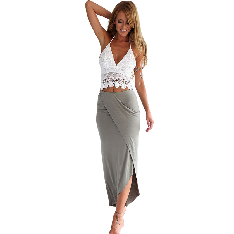 d78e8e37cd5f6 Summer Holiday Beach Wear Ladies Asymmetric Draped Maxi Skirt Casual Slim  Long Wrap Skirt Boho Style Beach Party Cover Up Skirt-in Skirts from  Women's ...
