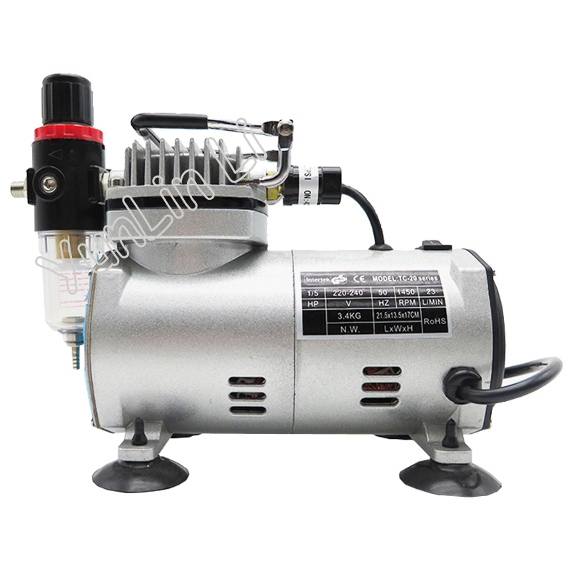 220V 23-25 L/min 1/5Hp Small Electric Piston Vacuum Pump Airbrush Compressor MS18-2