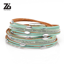ZG Iron charm bracelets Leather Bracelets For Women wrap Couples gifts fashion Jewelry dropshipping