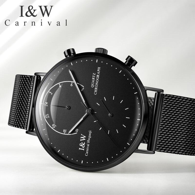 Хронограф светящийся Часы мужские 42 мм Япония miyota OS20 Move Мужские t кварцевые часы с ремешком из стали браслет черный ободок водонепроницаемы... - 3