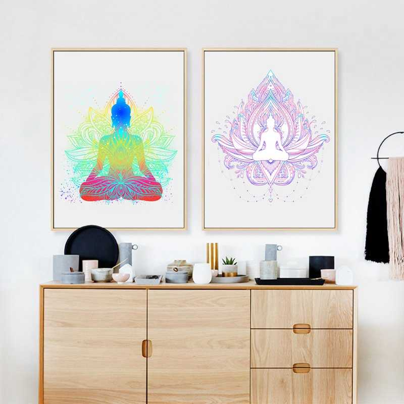 Sitting Buddha With Lotus Flower Wall Art Print And Poster , Buddha Face With Mandala Wall Pictures Canvas Painting Home Decor