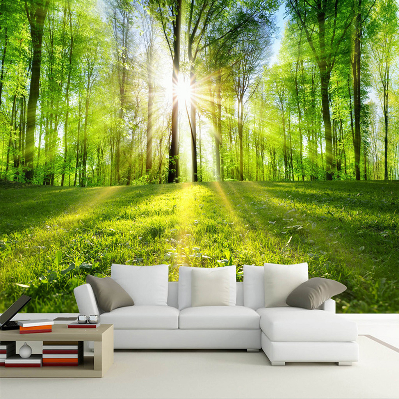Custom Mural Wallpaper Sunshine Forest Nature Landscape Wall Painting Living Room TV Background Wall Papers Home Decor Wallpaper spring abundant flowers rich large mural wallpaper living room bedroom wallpaper painting tv background wall 3d wallpaper
