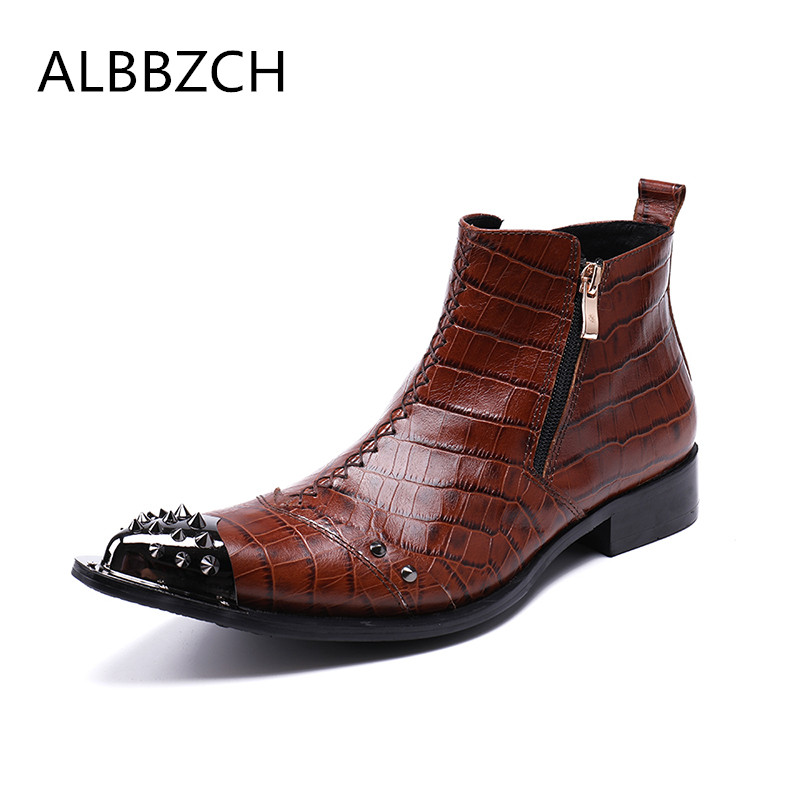 New mens embosssed leather boots men luxury rivets metal pointed toe ankle boots man western style work boots big yards 44 45 46