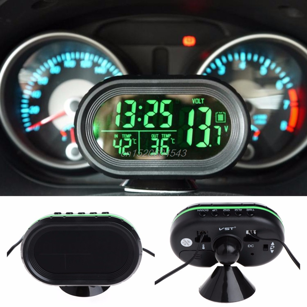 Digital Car LCD Clock Voltmeter Thermometer Battery Voltage Temprerature Monitor DC 12V-24V Freeze Alert R08 Drop ship 3 in 1 multifunctional car digital voltmeter usb car charger led battery dc voltmeter thermometer temperature meter sensor