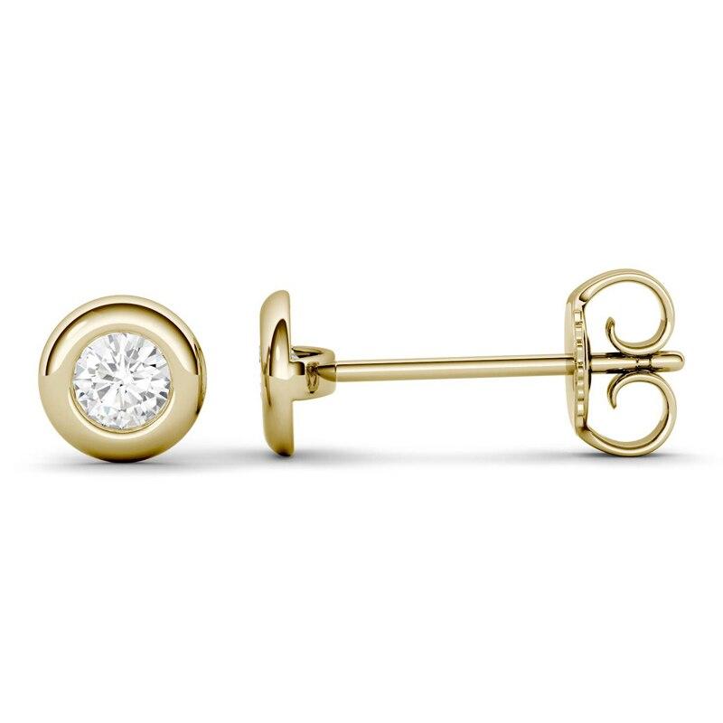 Genuine 18K 750 Yellow Gold Screw Back Test Positive 0.1ct 3mm DEF VS Round Cut Moissanite Diamond Stud Ear Earrings For Women