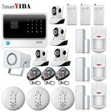 SmartYIBA APP Control Network Camera Surveillance WIFI GSM SMS Burglar Alarm System For Home Security Shock Sensor Motion Alarm