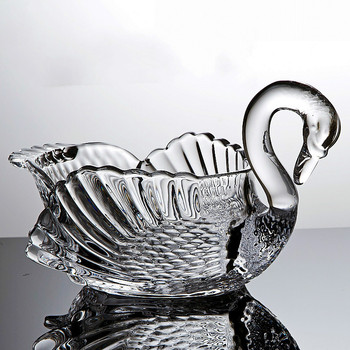 Fashion creative swan crystal glass fruit bowl living room transparent decoration tea heart plate snack plate ZP3152003