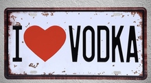 1 pc I love Vodka beer wine drink heart room plaques liquor Tin Plates Signs wall man cave Decoration Metal Art Vintage Poster