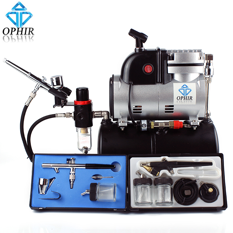 цена на OPHIR Pro Air Compressor Air Tank Cooking Fan 3x Airbrush Kit Set for Temporary Tattoo Body Painting_AC116+004A+071+072