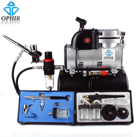 OPHIR Pro Air Compressor Air Tank Cooking Fan 3x Airbrush Kit Set for Temporary Tattoo Body Painting_AC116+004A+071+072
