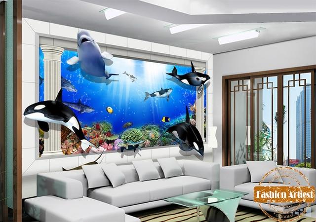 custom 3d kids jongens cartoon aquarium behang mural zee walvis dolfijn vis tv sofa kinderen slaapkamer