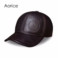 HL023 Genuine Leather Men Baseball Cap Hat CBD High Quality Men S Real Leather Adult Solid