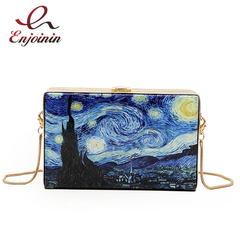 Fashionable Oil Painting Cartoon Vintage Box Style Ladies Party Clutch Bag Shoulder Bag Tote Crossbody Mini Messenger Bag F