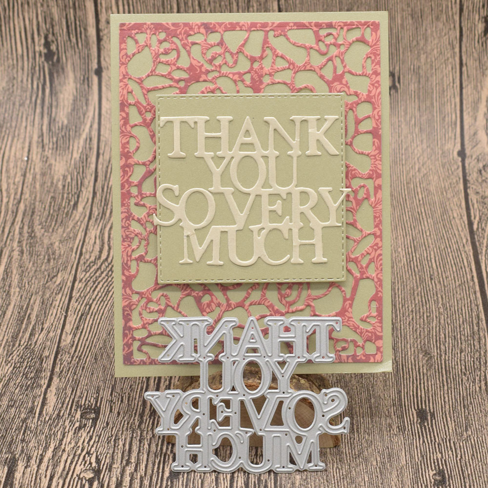 Thank You So Very Much Letter Metal Cutting Dies Words for Scrapbooking Album Card Making Paper Embossing Die Cuts in Cutting Dies from Home Garden