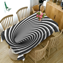 Japan style Polyester 3d Round Tablecloth Black & White Rotating Stripes Pattern Washable Thicken Cotton Rectangular Table Cloth