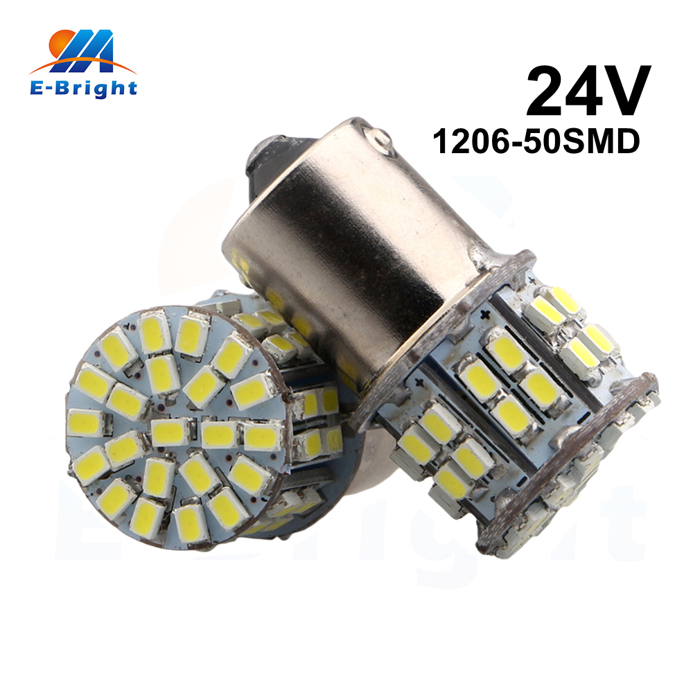 10pcs 24V White 1206 50 SMD Led Bulbs 1156 BA15S Vehicles Backup Tail Light Turn Signal Parking Lights Indicator Free Shipping free shipping 10pcs smd foot hcpl3101 a3101