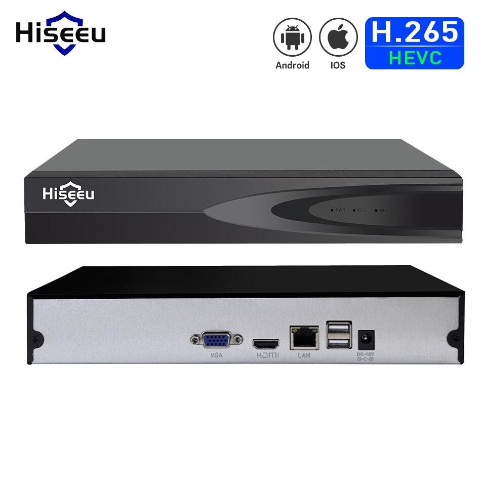 Hiseeu H.265 HEVC 8CH 16CH CCTV NVR para 5MP/4MP/3MP/2MP ONVIF 2.0 IP Câmera de metal gravador de vídeo em rede P2P para sistema de cctv