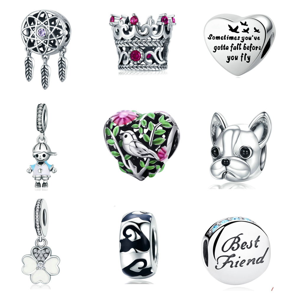 5c019239b49 Authentic 925 Sterling Silver Heart Micky Pig Dog Pets Spacerman Charm Bead Fit  Pandora Charms Bracelet Berloque Women DIY Gifts