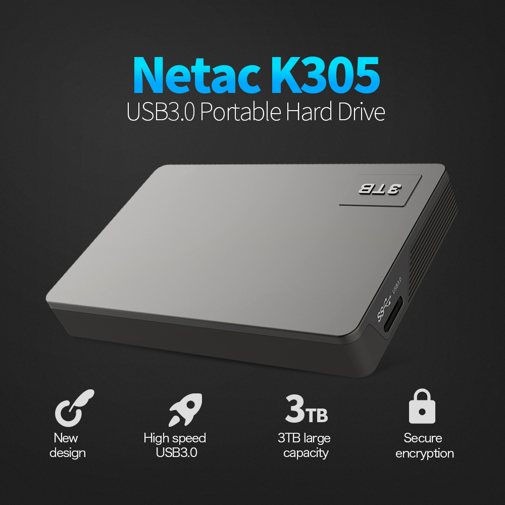 2018 Original Netac K305 3TB USB3.0 2.5in Portable HDD