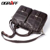 OGRAFF Genuine Leather Men Messenger Bag Men Leather Handbags Designer Briefcase Tote Laptop Bag Shoulder Bag
