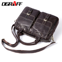 OGRAFF Genuine Leather Men Messenger Bag Men Leather Handbags Designer Briefcase Tote Laptop Bag Shoulder Bag