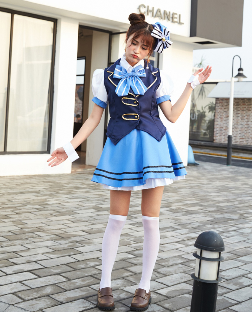 New game Kafuu Chino cosplay costume Lolita Maid dress erotic jacket fancy Jschool uniform Cosplay Halloween outfit