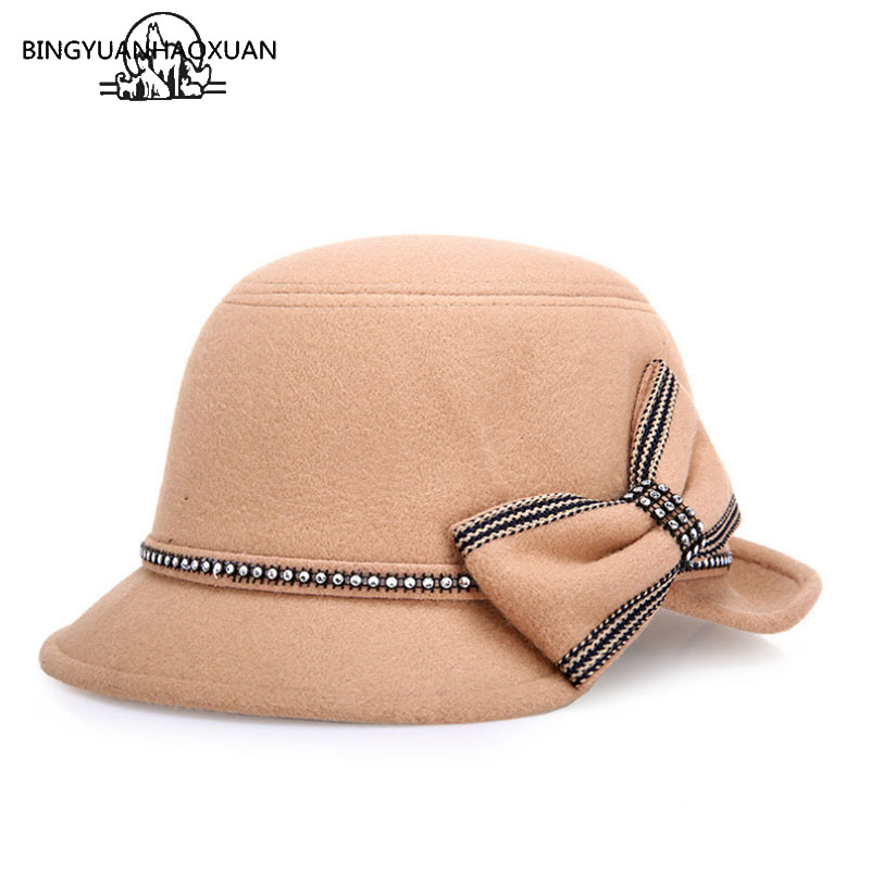 BINGYUANHAOXUAN Hot Europe England Korean Vintage Hat Warm Felted Winter Women Hat Wool hat Wide Edging Dome Equestrian Bucket