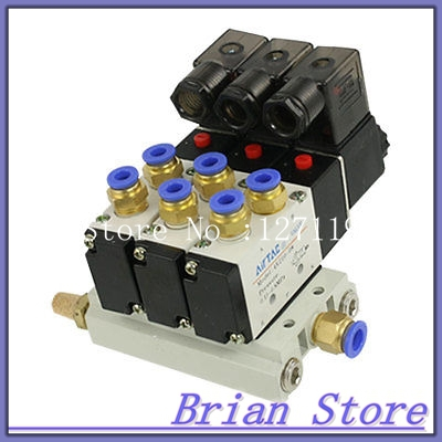 AC 220V 2 Positions 5 Way Triple Solenoid Valve Base 6mm Quick Fittings Mufflers 5 way pilot solenoid valve sy3220 4d 01