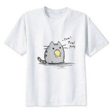 Pusheen women Tshirts Flag Digital Print Short Sleeve T shirt O-neck Cropped Cup T-shirt women T3071