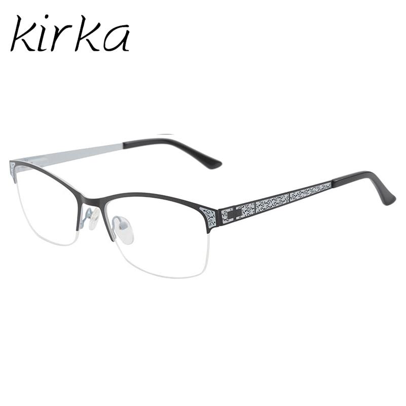 Kirka Women Metal Reading Glasses Frame Female Stainless Steel Optical Eyeglasses Frame Eyewear Office Lady and Teacher Style