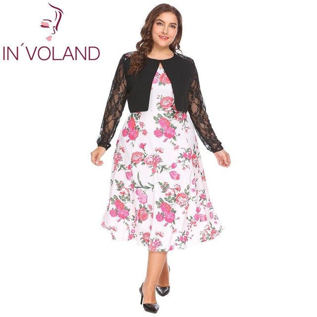 a1c3cb5100e IN VOLAND Plus Size L-4XL Women Lace Bolero Shrug Spring Autumn Large  Cardigan Long Sleeve Floral Patchwork Short Coat Plus Size