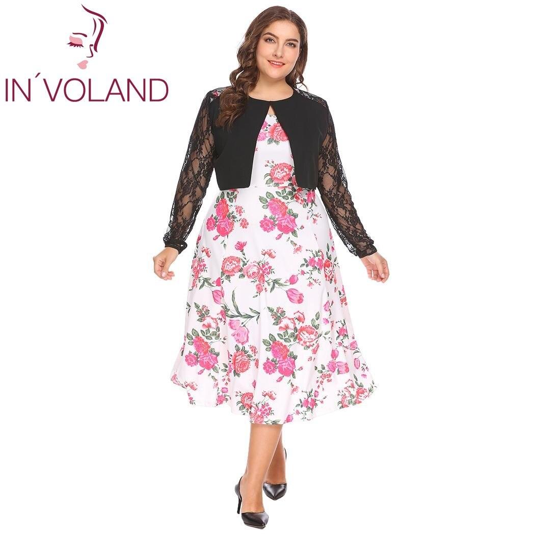 IN'VOLAND Plus Size L-4XL Women Lace Bols