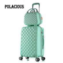 28″+12″Hot sales Diamond lines Trolley suitcase set/travell case luggage/Pull Rod trunk rolling spinner wheels/ ABS boarding bag