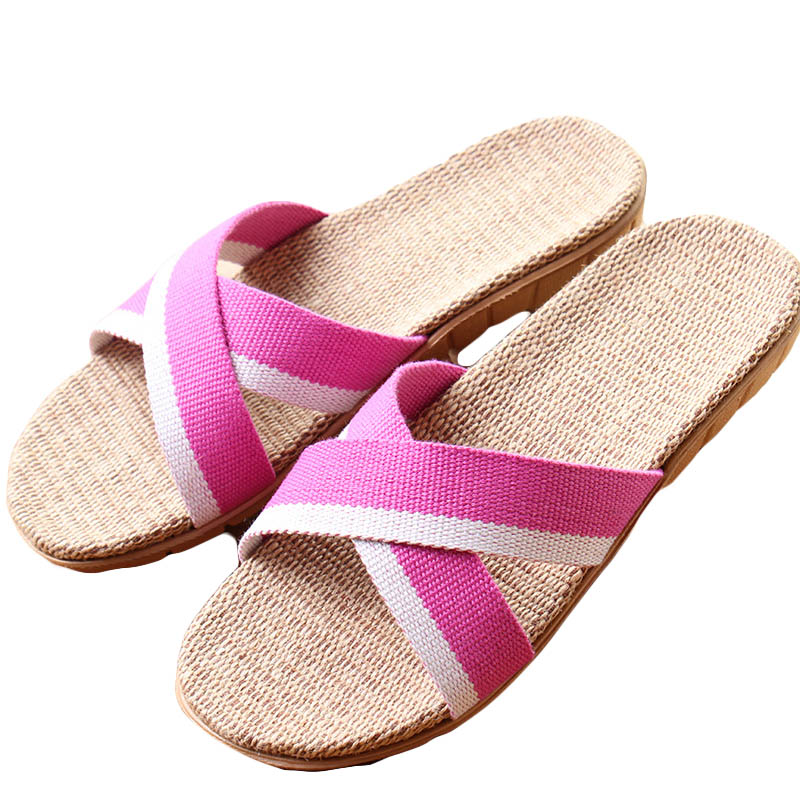 New Summer Women Flax Flip Flop Canvas Cross Linen Non-Slip Flat Sandals Home Slippers Ladies Fashion Slides Casual Straw Shoes coolsa women s summer flat non slip linen slippers indoor breathable flip flops women s brand stripe flax slippers women slides