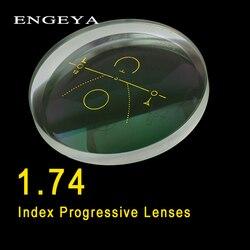 ENGEYA 1,74 Index Innen Progressive Linsen Kostenloser Form Multi Brennweite Asphärische Harz Rezept Linsen Mit Grün Beschichtung