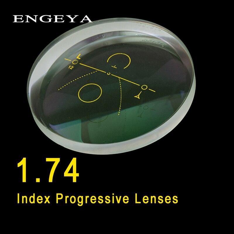 ENGEYA 1.74 Index intérieur lentilles progressives forme libre lentille Multi focale lentilles de Prescription en résine asphérique avec revêtement vert