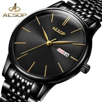 AESOP Man Watch Men Luxury Thin Automatic Mechanical Sapphire Wrist Wristwatch Stainless Steel Male Clock Men Relogio Masculino